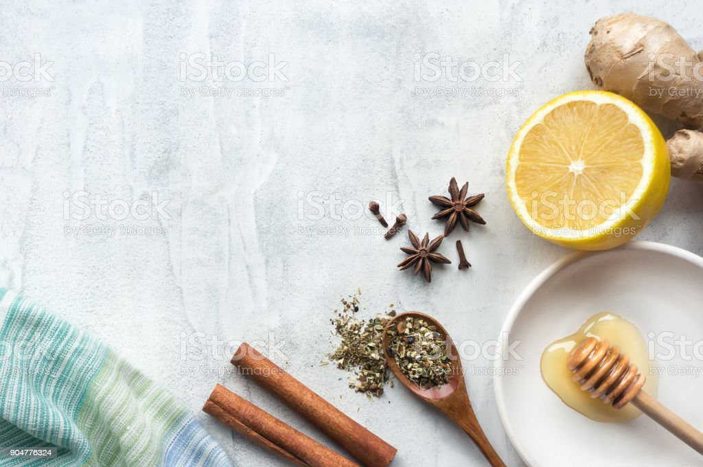 Natural Remedies for Cold, Flu, and Illness. Top view. stock photo