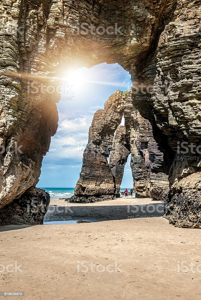 Natural rock arches Cathedrals beach (playa de catedrales) Spain stock photo