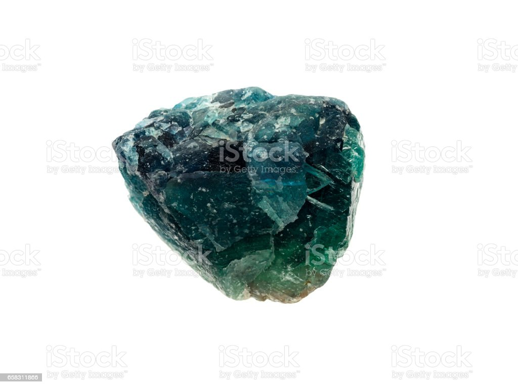 Natural rock - blue green Apatite gemstone on background stock photo