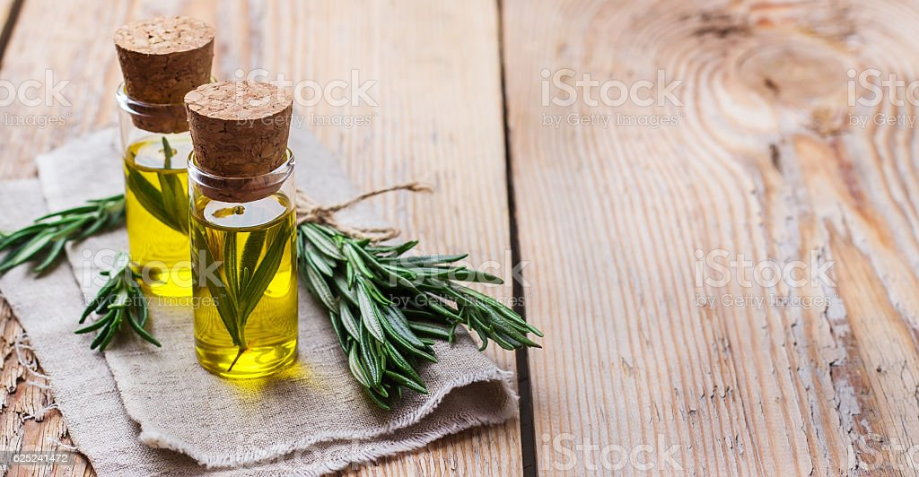 Natural rosemary essential oil for beauty and spa stock photo
