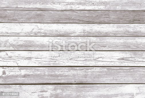 Natural Rustic Old Wood Shabby Background. Wooden Vintage Style Boardwalk Texture. Wood Surface Sundeck with Peeling White Paint. Horizontal Image Copy Space