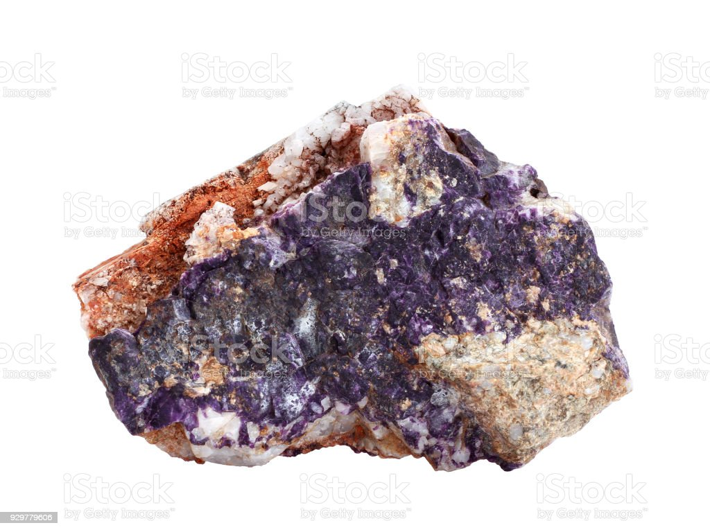Natural sample of charoite, rare silicate mineral on white background stock photo