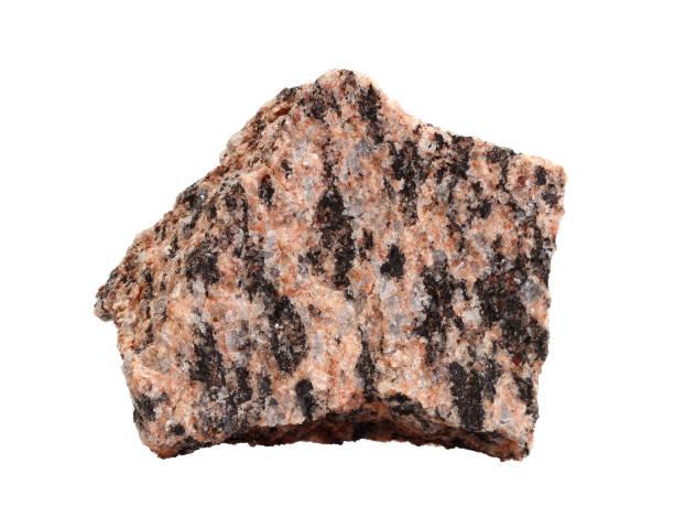 natural sample of fine-grained red granite, an intrusive igneous rock on white background - campione scientifico foto e immagini stock