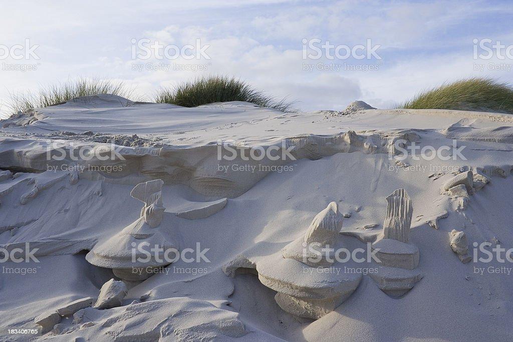 Natural sand structures between dunes. stock photo