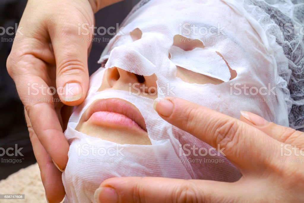 Natural sheet mask for the face skin care stock photo