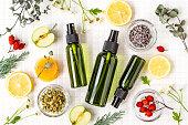 Cosmetics, natural, organic, flat lay