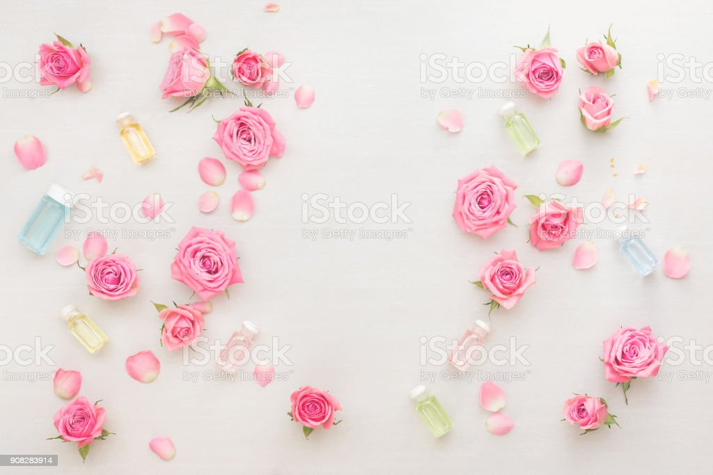 Natural skin care products and flowers stock photo