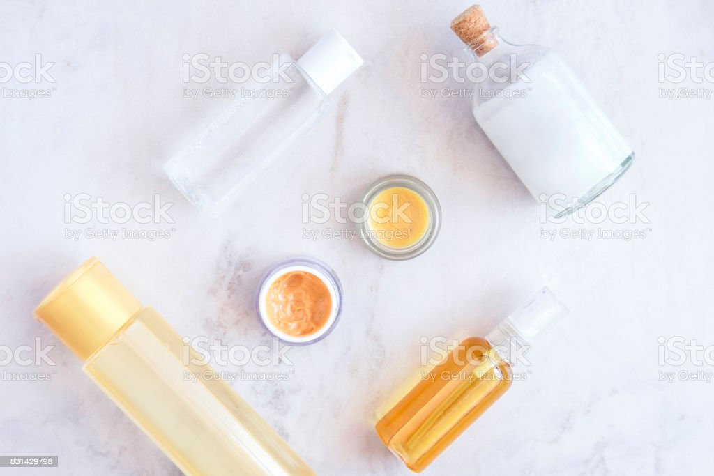 Natural skincare beauty products from above stock photo