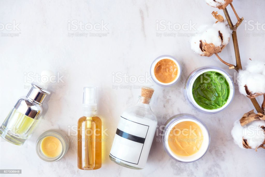 Natural skincare cosmetics from above stock photo
