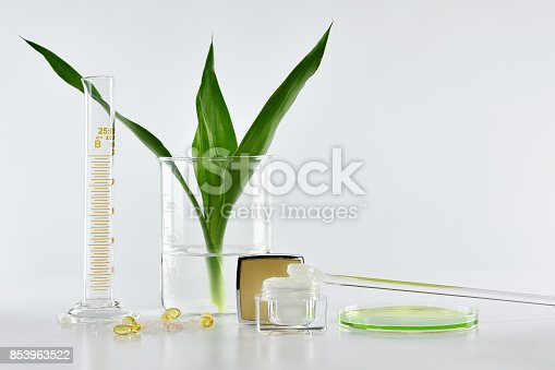 istock Natural skincare, Organic plant extract pharmaceutical cosmetics, Equipment and science experiments, Healthcare research and development concept. 853963522