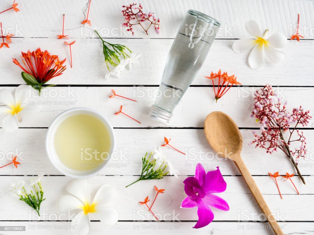 Natural skincare products,aroma oil for beauty concept. stock photo