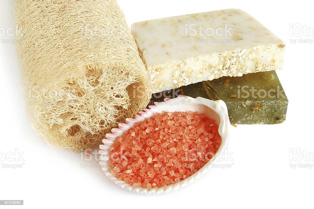 Natural soap and  loofah royalty-free stock photo