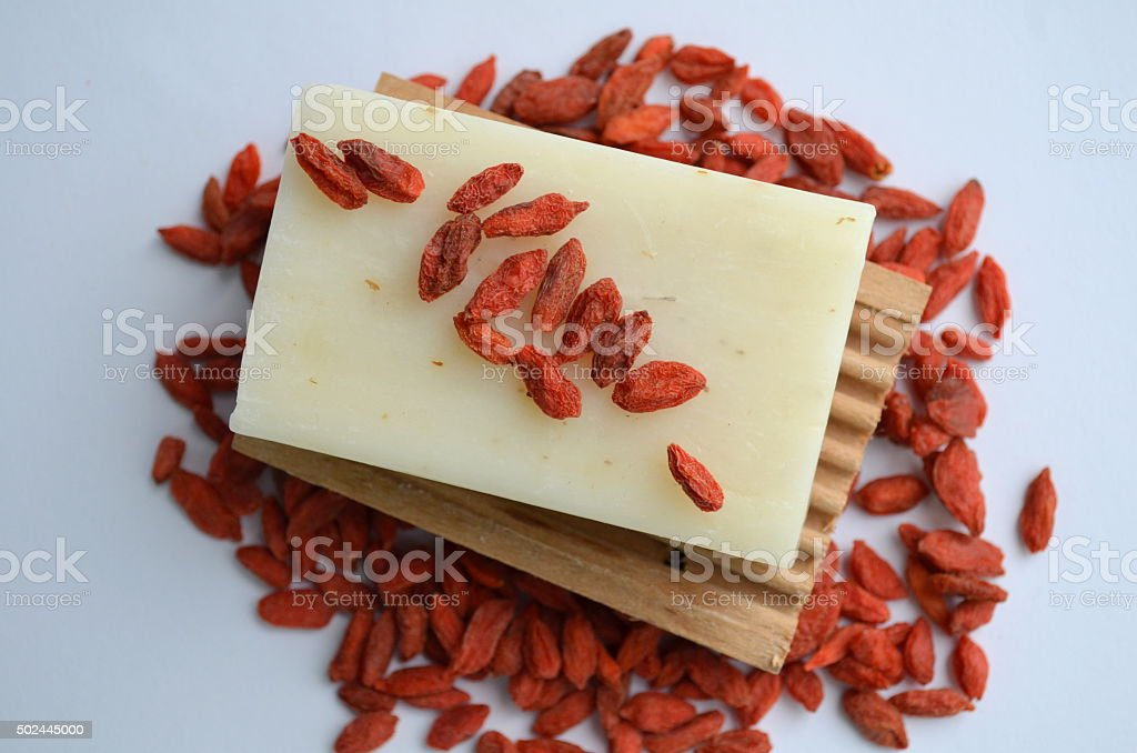 Natural Soap with goji berries stock photo