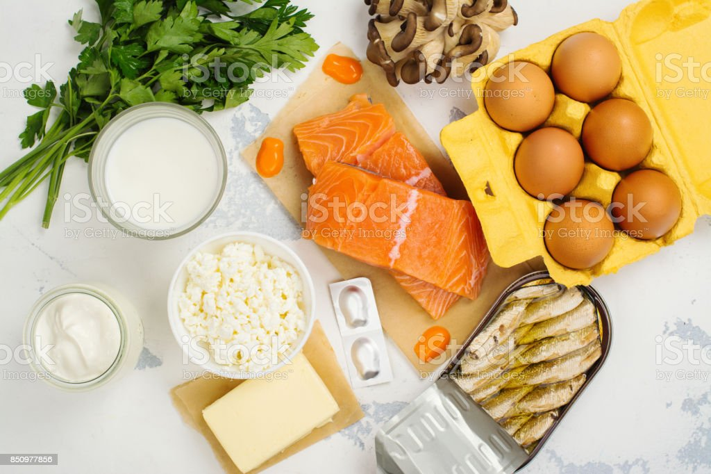 Natural sources of vitamin d and calcium stock photo