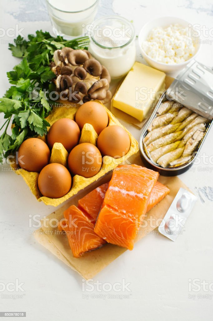 Natural sources of vitamin d stock photo