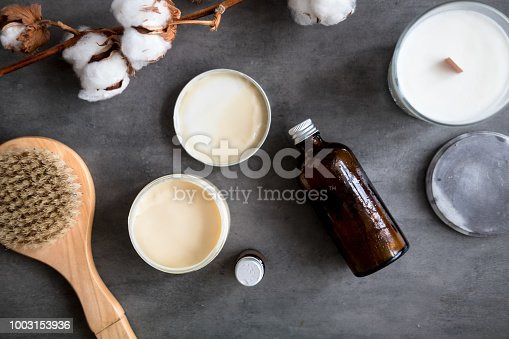 istock Natural spa cosmetic products flat lay 1003153936