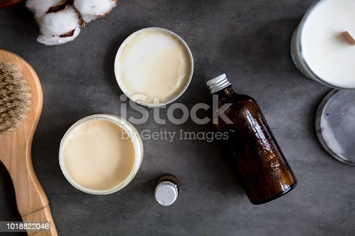 824824368 istock photo Natural spa cosmetic products flat lay 1018822046