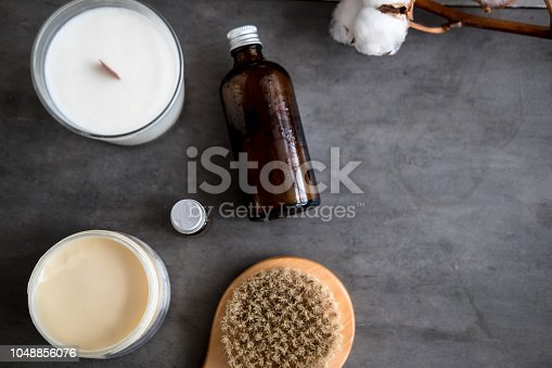 824824368 istock photo Natural spa cosmetic products flat lay 1048856076