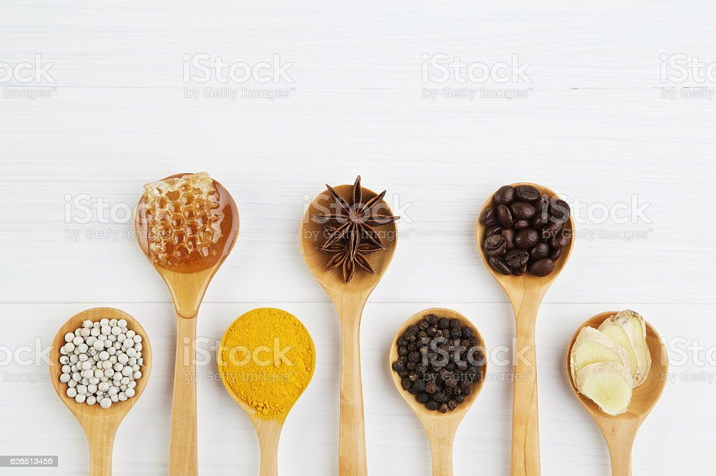 Natural Spa Ingredients. coffee beans, pepper, turmeric, ginger, stock photo