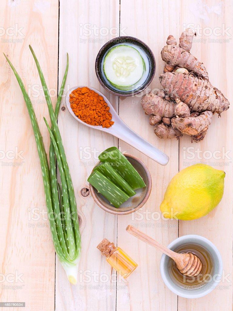 Natural Spa Ingredients homemade facial masks . stock photo