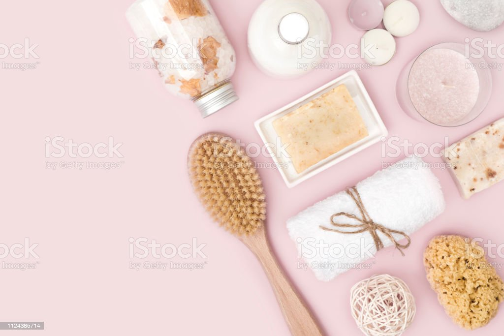 Natural Spa Skincare Products On Pink Background With Copy Space Stock Photo Download Image Now Istock