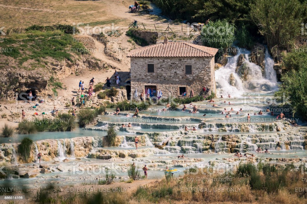 Natural spa with waterfalls in Saturnia, Italy. stock photo