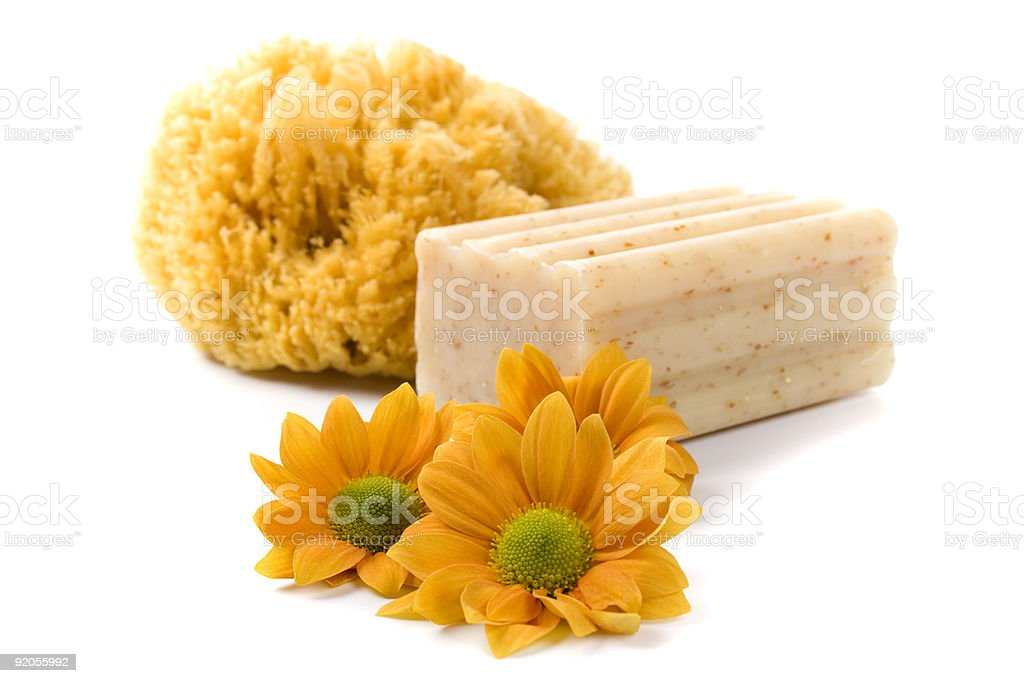 natural sponge, soap and flowers royalty-free stock photo