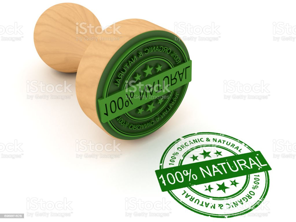 100% natural stamp stock photo