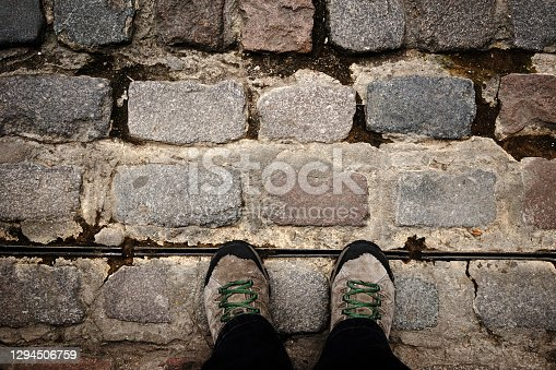Walking on Natural stone background