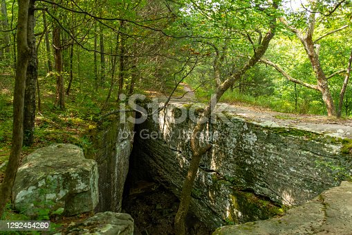 Natural stone bridge on the hiking trail at Bell Smith Springs, Shawnee National forest, Illinois.