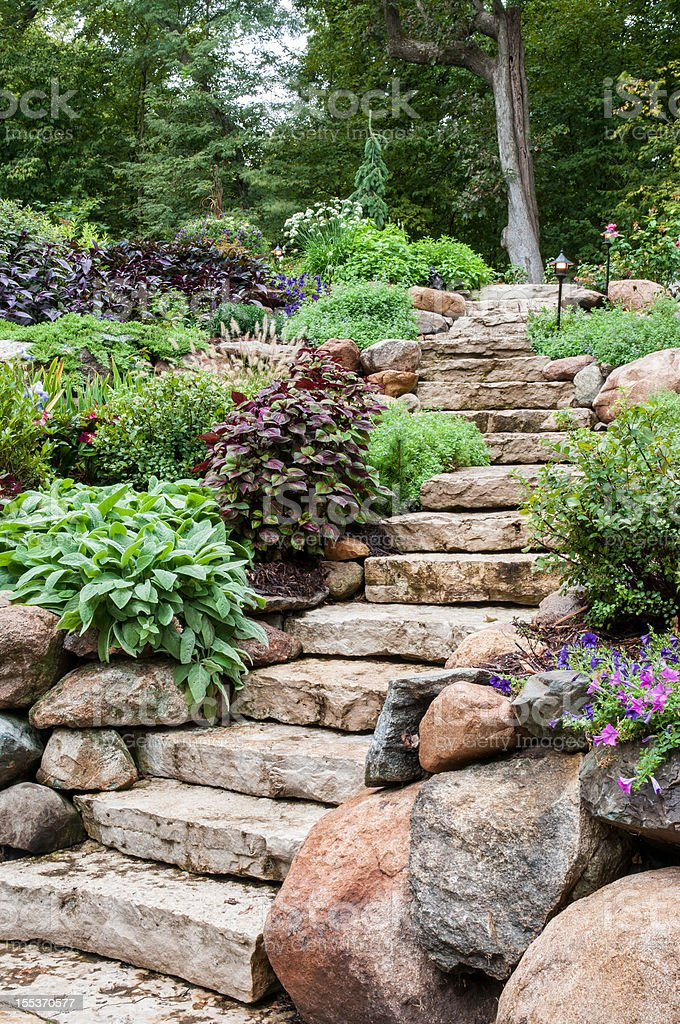 Natural Stone Landscaping royalty-free stock photo