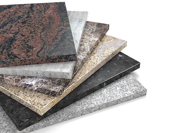 Les dalles de pierre naturelle en marbre et granit échantillons de palette pile - Photo