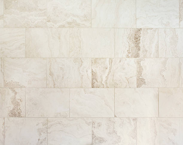 natural travertine stone tiles - tile stock photos and pictures