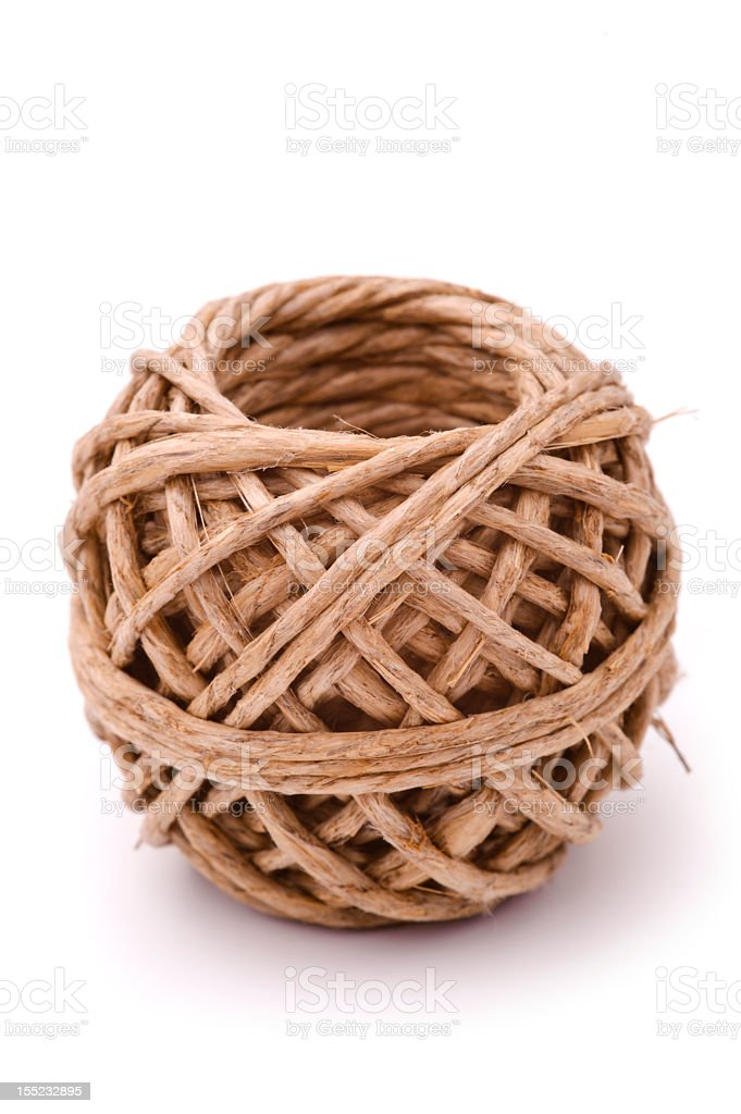 Natural twine ball, isolated, white background royalty-free stock photo