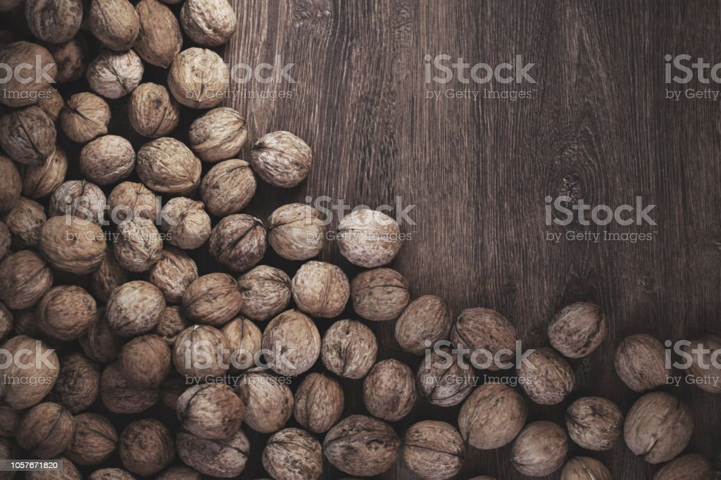 Natural walnut background pattern texture with copy space stock photo