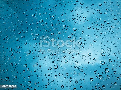 Natural water drops on glass, winter condensation
