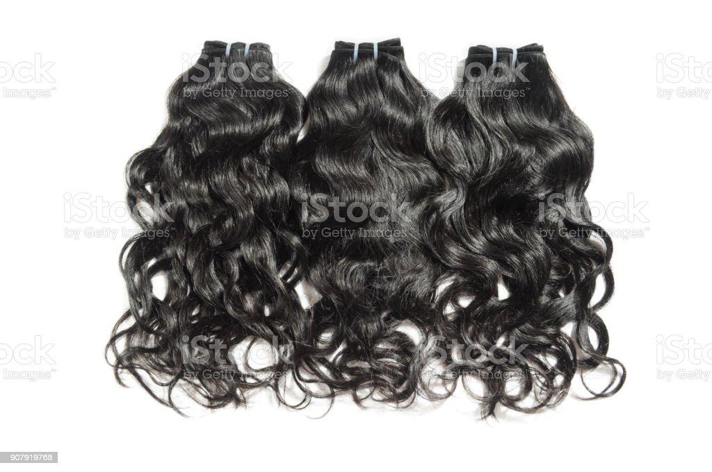 cabelo humano natural ondulado preto tecer feixes de extensões - foto de acervo