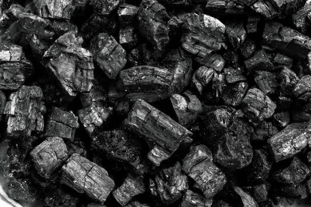 natural wood charcoal, traditional charcoal or hard wood charcoal, used as fuel for industrial coal. - coal stock pictures, royalty-free photos & images