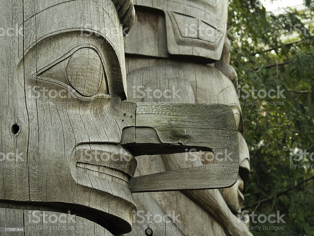 Natural wood totems in trees royalty-free stock photo