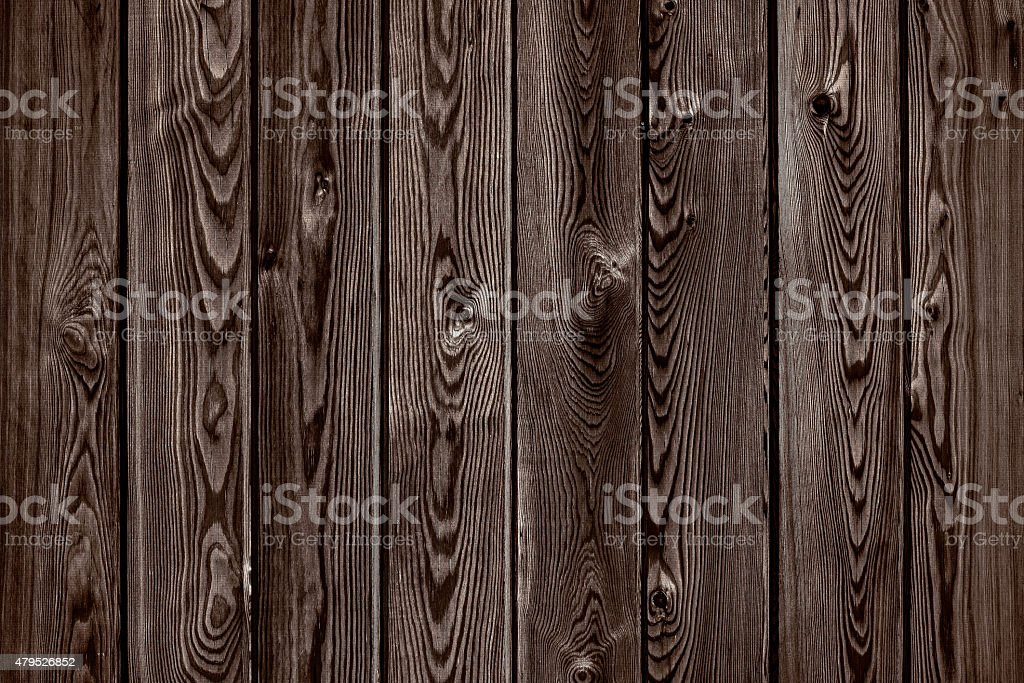 Natural wooden brown and chocolate boards, fence with knots stock photo