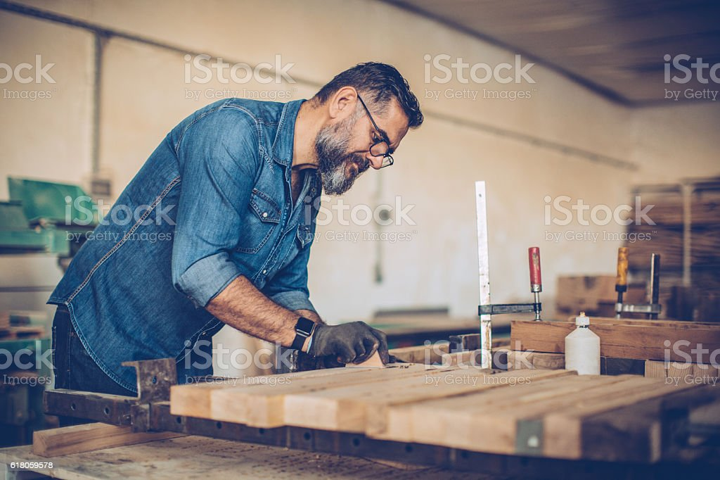 Natural woodworking skill stock photo