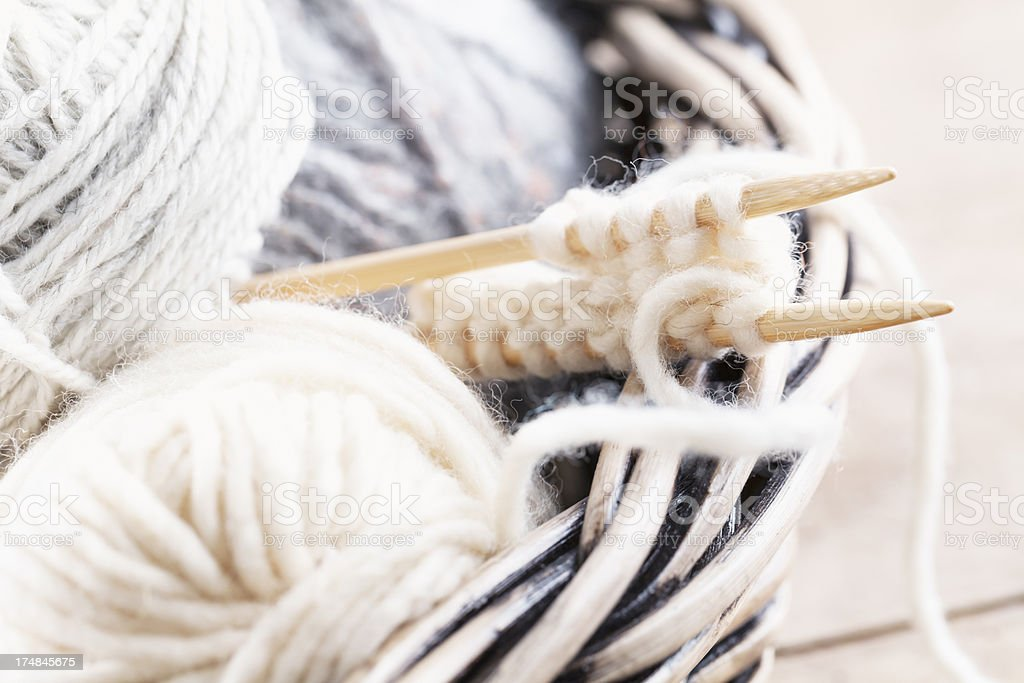 natural wool for knitting craft royalty-free stock photo