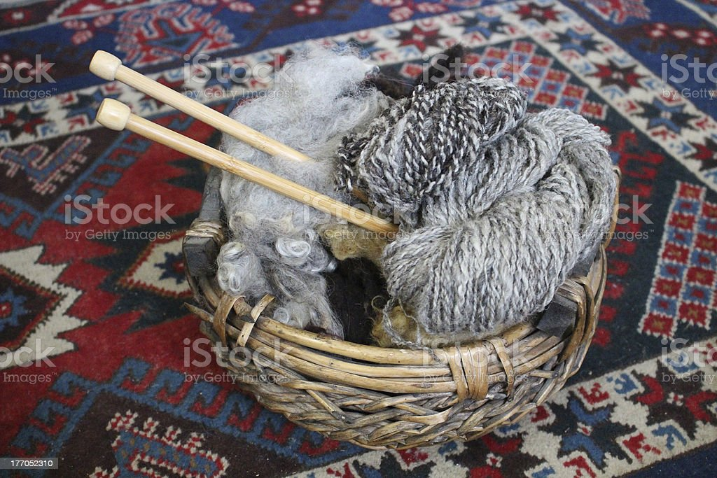 Natural wool with wooden knitting needles  in basket royalty-free stock photo