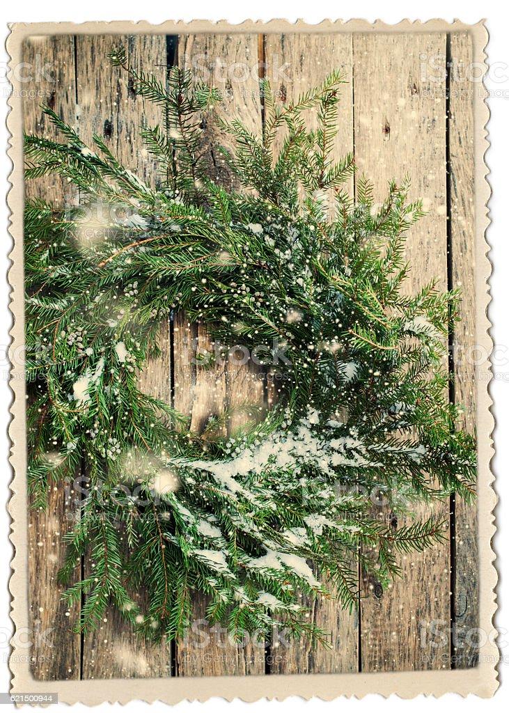 Natural Wreath Christmas Vintage Photo Frame Lizenzfreies stock-foto