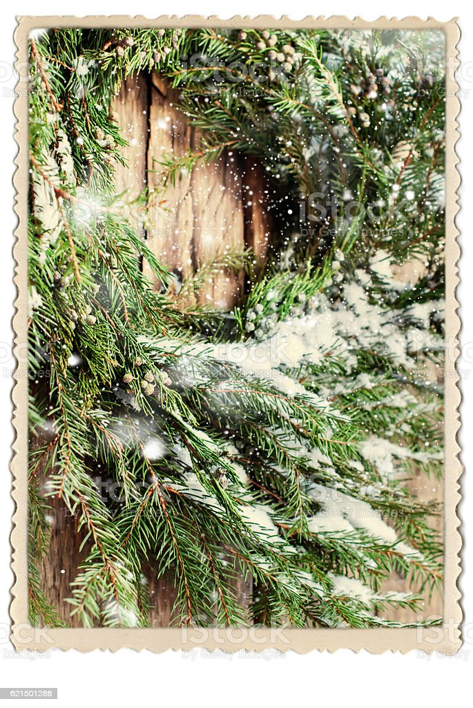 Natural Wreath Christmas Vintage Photo Frame Lizenzfreies stock-foto