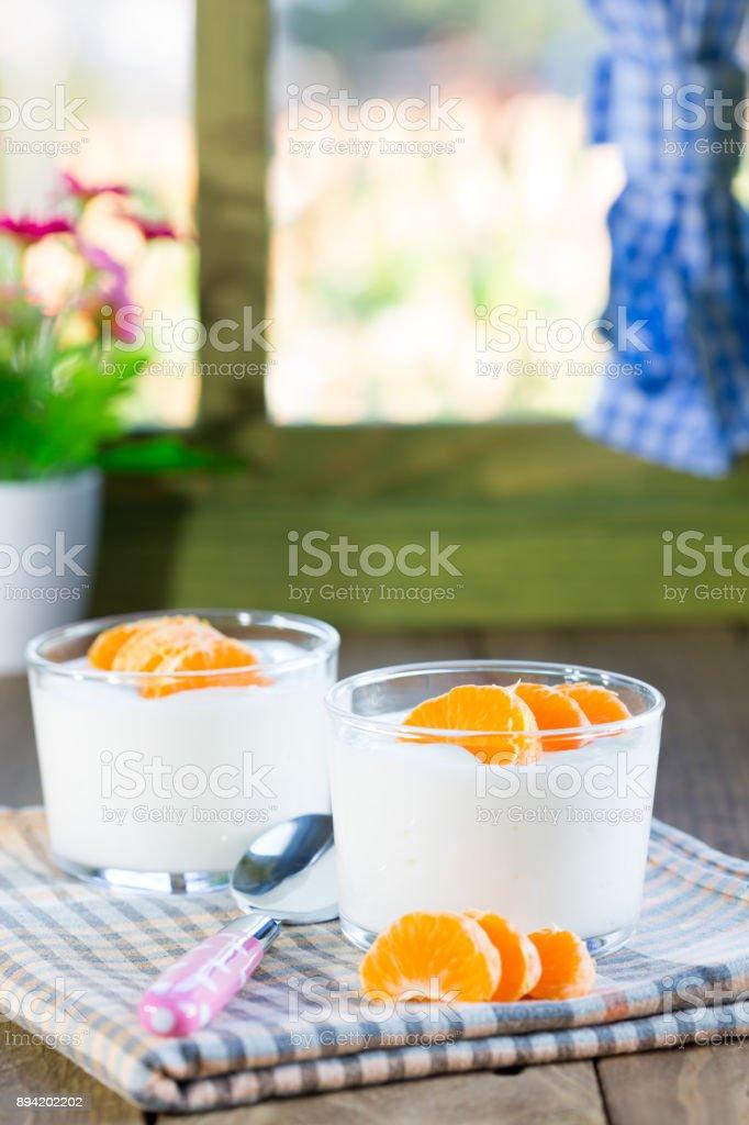Natural yogurt of mandarins stock photo