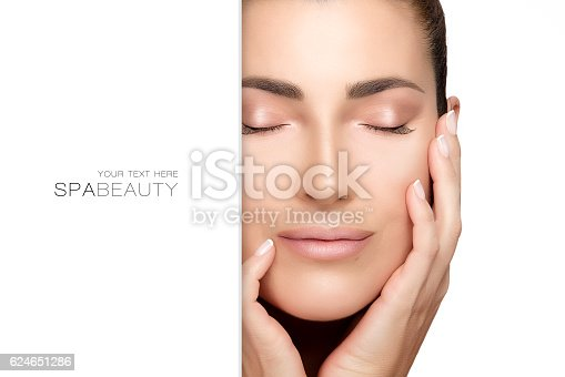 istock Natural young woman face. Spa Beauty Concept 624651286