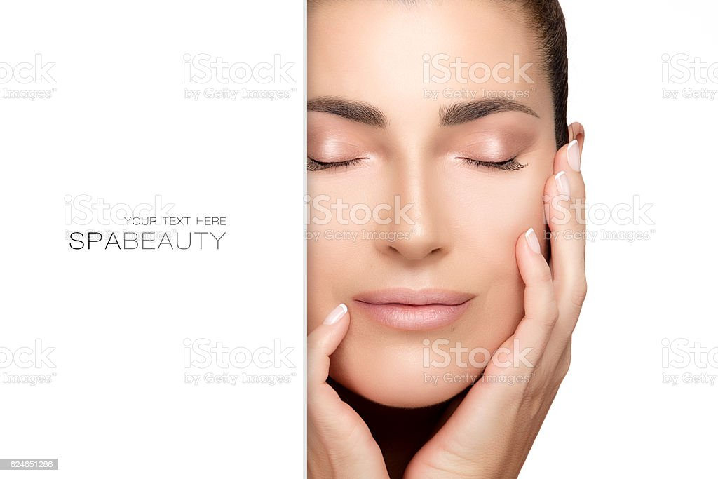 Natural young woman face. Spa Beauty Concept stock photo
