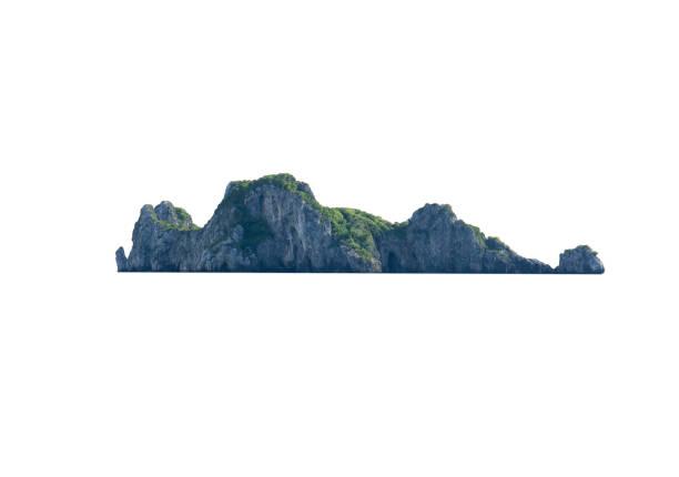 クリッピングパスを持つファイルの白い背景に孤立した自然の島 ストックフォト