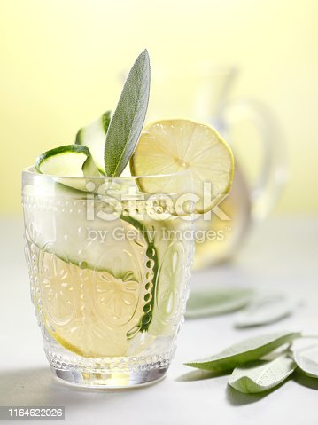 Cucumber and sage infused water with lime.